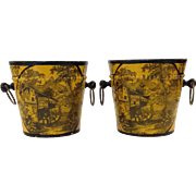 Pair of French Tole Cache Pots Yellow 20th Century
