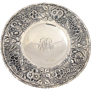 """S. Kirk & Son Repousse Dessert Dish Sterling 10"""""""
