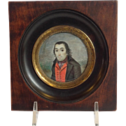 Antique Miniature Portrait of Gentleman 19th c.