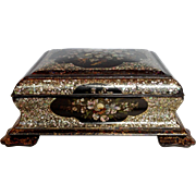 Papier Mache Box Mother of Pearl Inlay Mid-19th Century