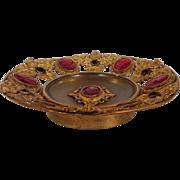 Jeweled Ornate Openwork Gilt Brass Plate Circa 1890