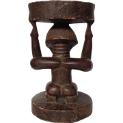 African Figural Female Stool Carved Wood 19""