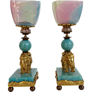 Pair Elephant Stands Chrysophase and Gilt Bronze