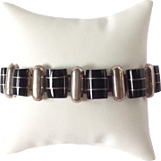 Onyx and Silver Link Bracelet in 950 Silver 7.5""