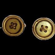 Button Shaped Crisscrossed Thread Cuff Links 14K