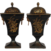 Pair of Black Tole Covered Urns 19th c