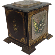 Victorian Jewelry Box Papier Mache Painted Floral