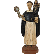 Santo Carved Wood Monk Holding Mary