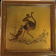 Native Children with Ostrich Vienna Bronze Plaque