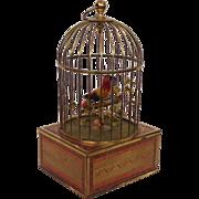 Singing Bird Cage Music Box Germany Mid-Century