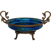 Sevres Blue Bowl by Paul Milet Bronze Footed Serving Bowl 15.5""