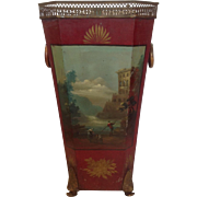 Red Tole Cane or Umbrella Stand 19th c