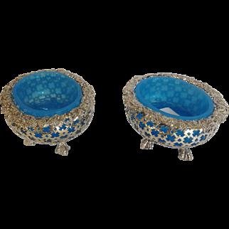 Pair Blue Opaline Salts France Silver