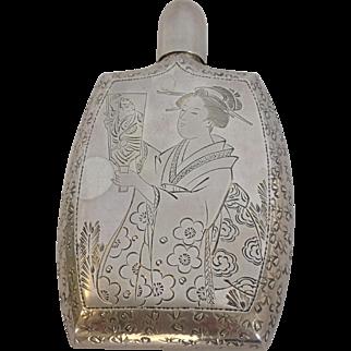 Geisha Flask Japanese Engraved