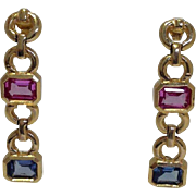 Tourmaline Dangle Earrings 14 Karat