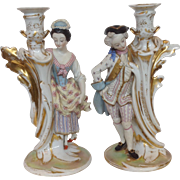 Old Paris Couple Candlesticks  Pair