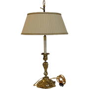 Candlestick Gilt Bronze Lamp Antique