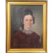 Portrait of a Woman Antique Oil on Canvas Painting 19th c.