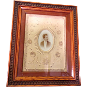 Folk Art Cut Paper Matt with Photograph of Gentleman
