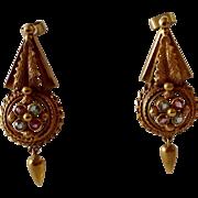 Victorian Gold Dangling Earrings with Stones Earrings 10K