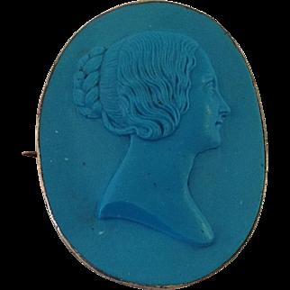 Blue Cameo Pin or Pendant Terracotta