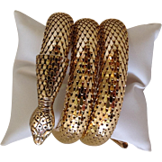 Whiting and Davis Snake Bracelet Goldtone Mesh1960s