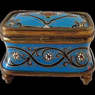 Hand Painted Decorative Enamel Box  19th c.