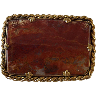 Agate Pin Antique Rope Border