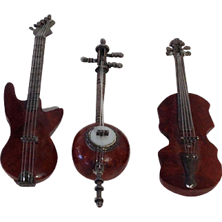 Miniature Musical Instruments Burl Wood and Sterling