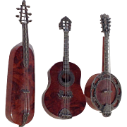 Miniature Musical Instruments Wood and Sterling