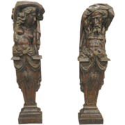 Male and Female Carved Antique Oak Sculptures from Ship