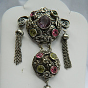 Hobe Sterling Dangle Pin with Pastel Stones