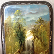 Russian Lacquer Box - Hand Painted Scenery of Waterfall with Mother of Pearl