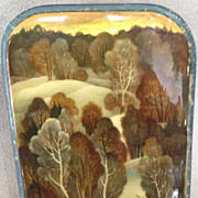 Russian Lacquer Box - Hand Painted Winter Scene Handpainted