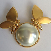 Lanvin Gold-tone Pin With Butterflies