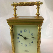 Antique Brass Carriage Clock Nappin & Webb, London