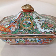Chinese Floral Rose Medallion Covered Dish