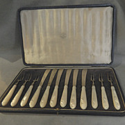 Mappin & Webb Sterling Fruit Set - Mother of Pearl Handles