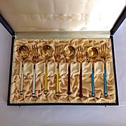 Antique David Andersen Enamel on Sterling Boxed Dessert Sets