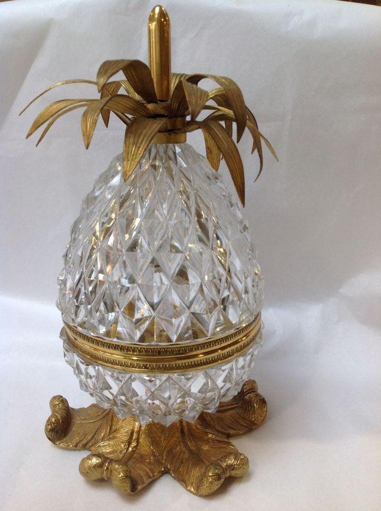 Ormolu Mounts Cut Glass Pineapple Box From