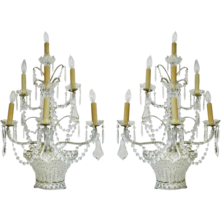 Beaded Crystal Wall Sconces : Pair Large Beaded Crystal Wall Sconces from antiquesofriveroaks on Ruby Lane