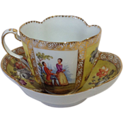 Handpainted Quatrefoil Yellow and Gold Dresden Cup and Saucer