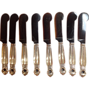 Georg Jensen Acorn Silver Caviar Knives Group of Eight