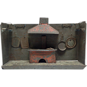 Tin Toy Kitchen with Wood Fire Stove and Dishes