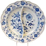 Meissen Blue Onion Pattern Divided Serving Dish
