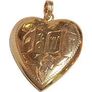 Book Heart Locket 14K Yellow Gold Graduation