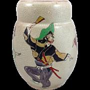 Large Japanese Pottery Vase Dancers c1940's