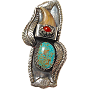 Kakiki Native American Turquoise,Bear Claw and Coral Silver Ring