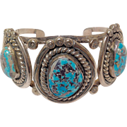 Native American Three Stone Turquoise Silver Cuff Bracelet