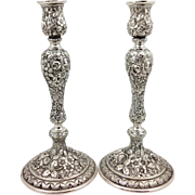Pair Repousee Candlesticks Sterling Shultz